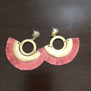 Jewelry - Cloth and gold fringe earrings